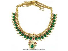 Mango mala with emeralds & Rose Cut Diamonds