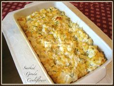 This recipe was inspired by one in Dana Carpender's 500 Low-Carb Recipes. Most people do not cook cauliflower casseroles with this particular cheese and it doesn't melt easily. But once it DOES me...
