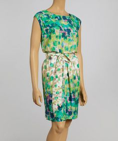 Loving this Green Watercolor Sleeveless Dress & Turquoise Blazer - Petite on #zulily! #zulilyfinds