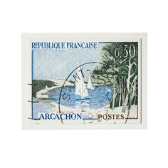 French Stamp Wall Art - Blue Sailboats - NEW