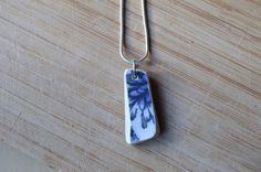 Blue and White Beach Pottery Necklace with Silver Plated Chain, Flower Pattern Necklace by SeaBreezeShop on Etsy