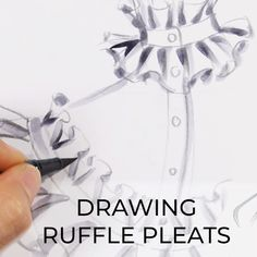 Learn how to draw ruffle pleats at University of Fashion # Fashion drawing Drawing Ruffle Pleats Fashion Illustration Tutorial, Fashion Drawing Tutorial, Fashion Figure Drawing, Fashion Drawing Dresses, Fashion Illustration Dresses, Illustration Mode, Drawing Fashion, Fashion Painting, Fashion Design Sketchbook