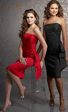 bridesmaid dresses red and black - Google Search