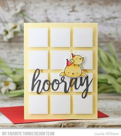 Stamps: BB Birthday Chicks  Die-namics: BB Birthday Chicks, Hooray, Collage Cover-Up    Laurie Willison  #mftstamps
