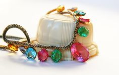 Vintage Crystal Rhinestone Multicolored Necklace by wimpyren