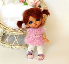 "Knitted Outfit ""Tender Pink"" with shoes for Lati White Basic ver., and dolls similar format by TashkasBears on Etsy"