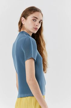 mist march mock neck top, Steel Blue – Kick Pleat Japanese Fashion Designers, Issey Miyake, One Size Fits All, Mock Neck, Mists, March, Short Sleeves, Turtle Neck, Pullover