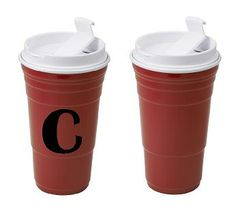 Get the to-go cup convenience of a hot/cold tumbler in a reusable and dishwasher safe red cup! This insulated 20 oz. tumbler has an easy to use flip lid, double wall construction and leak resistant silicone-sealed screw top. Make it even more perfect with a monogram!