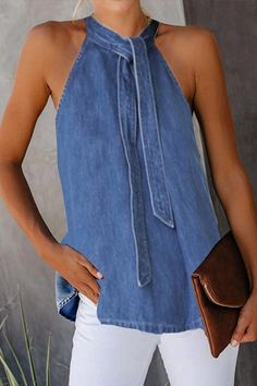 Casual Lace-Up Denim Vest Shirt - Kleidung Ideen 2020 Artisanats Denim, Denim T Shirt, Shirt Vest, Denim Vests, Denim Style, Style Casual, Casual Wear, Denim Fashion, Fashion Outfits