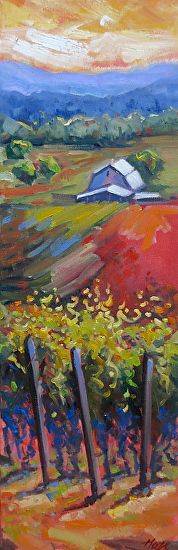 Pinot Vines by Hazel Schlesinger Oil ~ 24 x 8