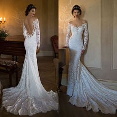 2015 Berta Mermaid Backless Wedding Dresses Lace Applique Off The Shoulder Long Sleeves Chapel Train Beads Bridal Gown