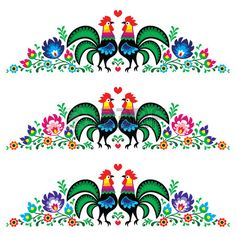 27312945-polish-floral-folk-long-embroidery-pattern-with-roosters--wzory-lowickie.jpg (450×450)
