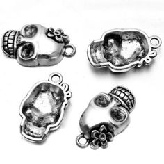 100pcs Silver Flower Skull Head Party Charms Alloy Jewelry Pendant Findings J