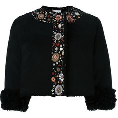 Red Valentino embroidered cropped jacket (€1.755) ❤ liked on Polyvore featuring outerwear, jackets, black, embroidered jacket, cropped jacket, pattern jacket, embroidery jackets and print jacket