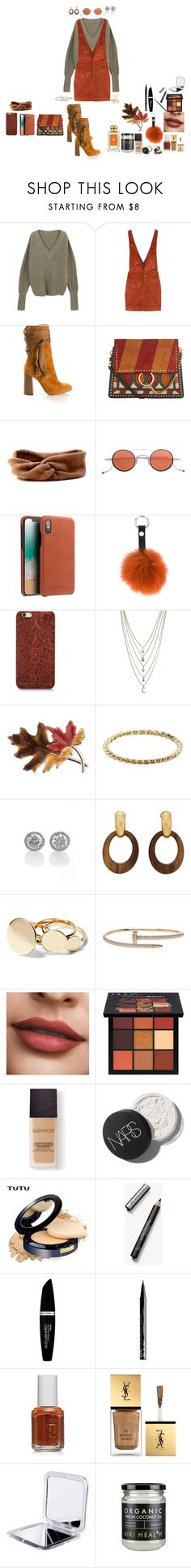"""""""oranigbrowndressthing=)"""" by manonth on Polyvore featuring mode, Free People, Chloé, Jacques Marie Mage, Guild Prime, Ettika, Anne Klein, Luna Skye, Goossens en Huda Beauty"""