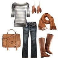 Casual look for a day/evening out on the town....except I never get all my browns to match like that!