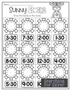Sunny Clocks and other engaging and fun no-prep math printables for summer! Kindergarten Math Worksheets, Math Literacy, Math Resources, Teaching Math, Math Activities, Kids Worksheets, 1st Grade Math, Math Facts, Math For Kids