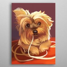Trufa the Yorkie by Gema MT Yorkshire Terrier, Wall Art Prints, Canvas Prints, Little Pets, Animal Drawings, Pet Portraits, Concept Art, Original Art, Canvas Art