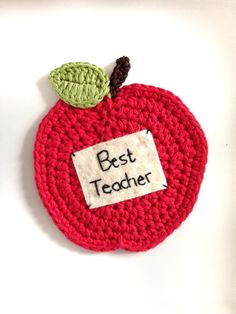 Crochet Apple Coaster with personalised message - teachers gift