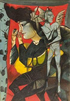 Dimitris Mytaras, Female figure with an angel  - WikiArt.org
