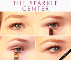 Switch the focus and concentrate your bottom eyeliner in the center of the lash line, rather than the outer corners. Bringing the attention the middle makes the eyes appear rounder. Add even more oomph the emphasis with a sparkle right below the center of your pupil.