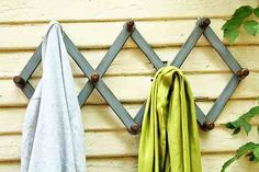 Restored Wooden Accordion Gray Coat Rack