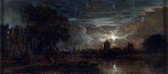 The Ferry, Moonlight Aert van der Neer Oil on oak panel, 11 x 23.8 cm