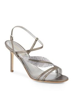 SERGIO ROSSI Crystal Leather Sandals. #sergiorossi #shoes #sandals