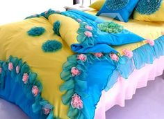 100% Cotton Princess Flower  4-Piece Cinderella Duvet Cover Sets