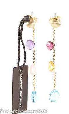 MARCO-BICEGO-Aruba-18K-Yellow-Gold-Blue-Pink-Purple-Orange-Drop-Dangle-Earrings