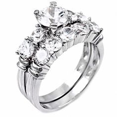 Sondra: 3.5ct Russian Ice CZ Simulated Diamond Wedding Ring Set - Trustmark Jewelers