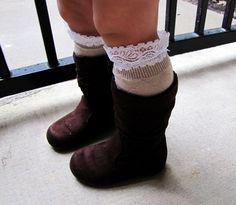 Toddler girl lace boot socks, leg warmers, white, dark brown, light brown, gray, little girl fashion, lacy shoe accessories, girl boot socks by mmhandmades on Etsy https://www.etsy.com/listing/120281991/toddler-girl-lace-boot-socks-leg-warmers