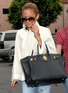 Nicole Richie with Hermes Birkin handbag