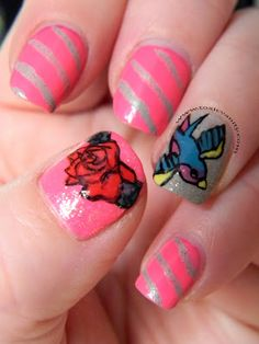 Pink and Silver Striped Mani with Swallow and Rose Accent Nails -- like the rose :)