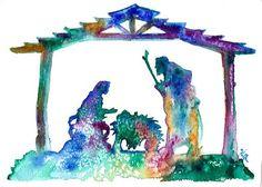 "Christmas Gift/ Original Watercolor Painting Christmas Nativity Manger Scene Wall Art/Decoration 5""X 7"" by Kristin Glaze van Lieshout"