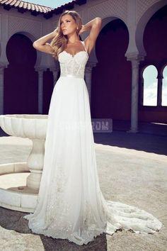 A-line Chiffon Spaghetti Straps Corset Lace Bodice Wedding Dress