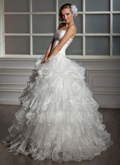 Corte de baile Escote corazón Vestido Organdí Satén Vestido de novia con Bordado Lentejuelas Cascada de volantes (002013819)