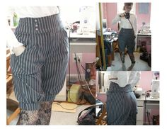 another great design for modified trousers - use the cut off legs to make a better waist and knee cuffs