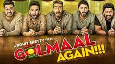 Golmaal Again title track is an extended version of the original Golmaal with Ajay Devgn, Tusshar Kapoor, Arshad Warsi, Shreyas Talpade and Kunal Kemmu from the previous film and joining them are the new ladies, Tabu and Parineeti Chopra. Movies To Watch Online, All Movies, Latest Movies, Movies Free, New Hindi Movie, Hindi Movies, Bollywood Movies Online, Rohit Shetty, Full Movies Download