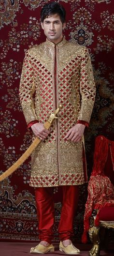 12065:   Golden Cut-out detailing on our Sherwani - a total royal look. #TrendyMan This is bloody cool.