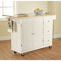 Leo Kitchen Island with Wood Top