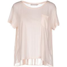 Stefanel T-shirt ($55) ❤ liked on Polyvore featuring tops, t-shirts, light pink, short sleeve tops, pink t shirt, short sleeve tees, pleated top and stefanel