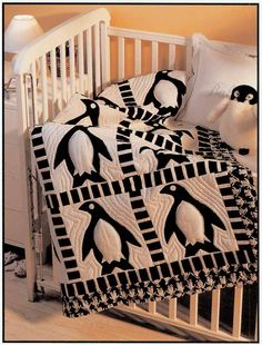 Free download for this adorable appliqued penguin quilt! The possibilities are endless with thousands of fabrics to choose from at the Fabric Shack at http://www.fabricshack.com/cgi-bin/Store/store.cgi Repinned: *free* pattern: Penguin frolic baby quilt