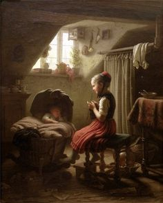 girl knitting while watching a baby. Johann Georg Meyer von Bremen art - Johann Georg Meyer von Bremen (1813 – 1886), commonly known as Meyer von Bremen, was a German painter who specialized in Biblical, peasant, and family scenes,