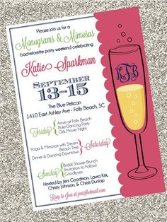 Monograms & Mimosas Invitiation  Digital File by SouthernSwish, $15.00