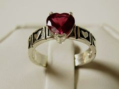 2.25ct red ruby antique 925 sterling silver heart ring size 7 USA made   #Solitaire
