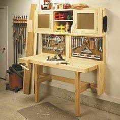 Build a home workshop using these 17 Free Garage Woodshop Plans: Ingenious Space Savers for Garage Workshops Workbench Plans, Woodworking Workbench, Woodworking Projects Plans, Woodworking Shop, Folding Workbench, Garage Workbench, Workbench Stool, Welding Projects, Diy Projects
