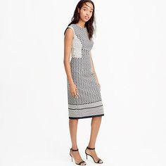 "A twist on the classic black-and-white office palette: This geometric jacquard dress dress has been perfectly tailored for a superflattering look that's appropriate for work and after work too. <ul><li>Fitted silhouette.</li><li>Falls above knee, 40 1/2"" from high point of shoulder (based on size 6).</li><li>Cotton/poly.</li><li>Back zip.</li><li>Lined.</li><li>Dry clean.</li><li>Import.</li></ul>"