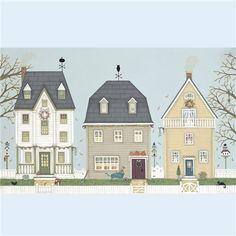 Prints & Canvasses » Autumn Houses Signed Giclée Print » Autumn Houses Signed Giclée Print - Sally Swannell
