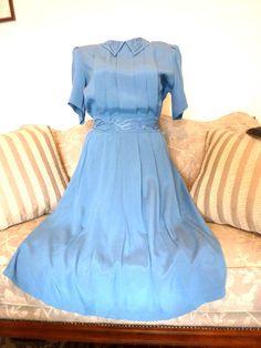 Karen Stevens 80's  Vintage dress Size 16 Blue  Rayon Blue pearl decorations #KarenStevens
